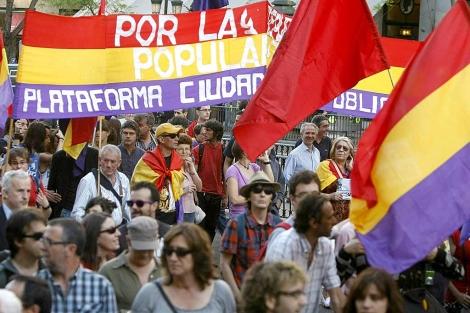 Algunos de los participantes de la manifestación en Madrid.   Efe