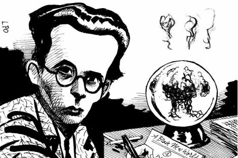 Ilustración de Aldous Huxley, escritor de 'Un mundo feliz'.| LPO