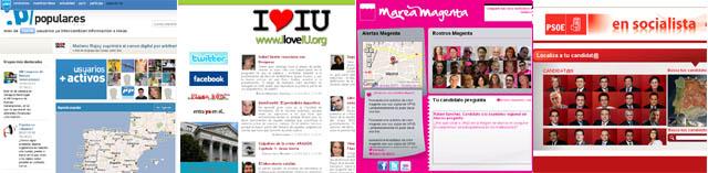 Imagen de las plataformas digitales de PP, IU, UPyD y PSOE.