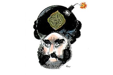 Polémica caricatura de Mohamed por Kurt Westergaard.   Jyllands-Posten