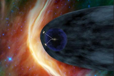 Recreación de las sondas 'Voyager' en los confines de la heliosfera. | NASA/PL-Caltech
