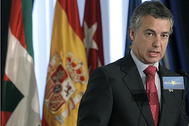 El presidente del PNV, Iñigo Urkullu, durante su intervención en Madrid. | Efe