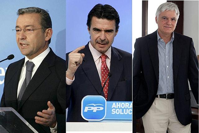 Desde la izda.: Paulino Rivero (CC), José Manuel Soria (PP) y José Miguel Pérez (PSOE).