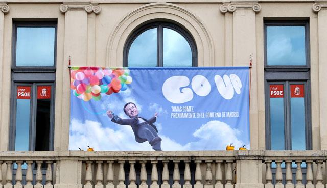 El nuevo cartel que el PSM ha colgado en su sede de Callao. | Alberto Di Lolli