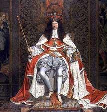 Carlos II de Inglaterra en un óleo de J. M. Wright.
