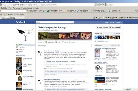 Perfil de Facebook de la bodega Divina Proporción, de la DO Toro.