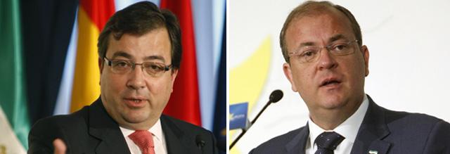 El candidato del PSOE Guillermo Fernández Vara (izquierda) y el del PP José Antonio Monago.