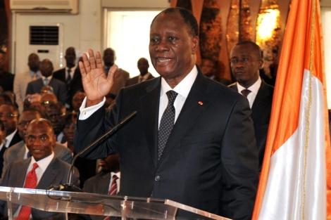 El presidente de Costa de Marfil durante su juramento en Abidjan. | Afp