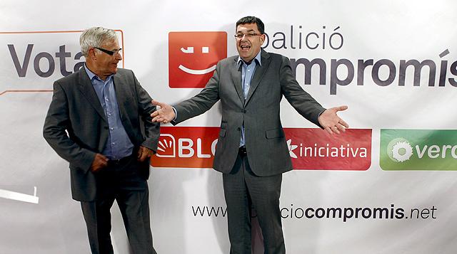 Joan Ribó y Enric Morera en el inicio de campaña de Compromís en Valencia.   Efe