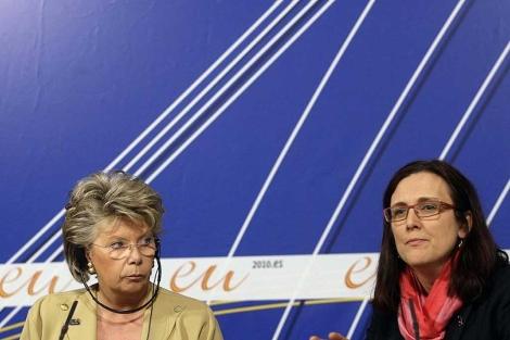 Reding y Malmström, en una reunión Union Europea-EE.UU, en Madrid.  D. Sinova