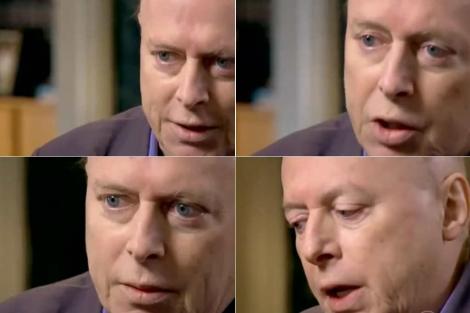 Hitchens, en cuatro momentos de una reciente entrevista en la CBS.