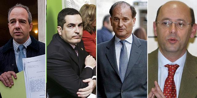Los alcaldes del PP imputados A. González Panero, Juan Siguero, Jesús Sepúlveda y Ginés López (de izq. a dcha.).