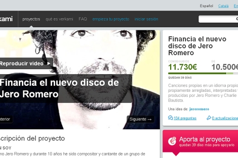Imagen de la web de Verkami en la que Jero Romero ha conseguido autofinanciar su disco.