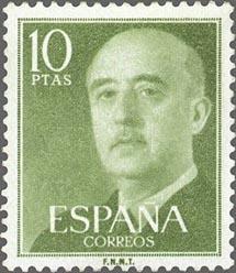 El retrato de Franco impreso en sellos.