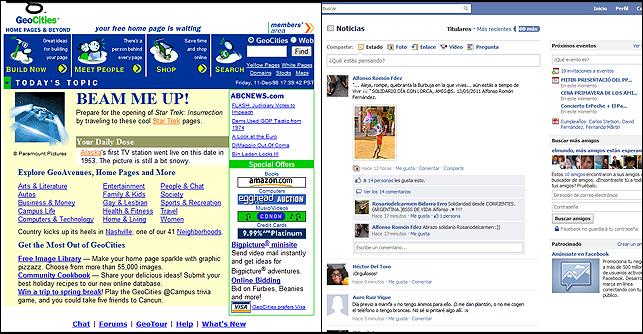 Geocities tal como era en 1999 (izqda.) enfrentada con otra de Facebook en la actualidad.