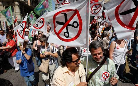 Las pancartas contra el 'tijeretazo' han hecho fortuna. | Antonio Moreno