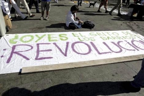 Imagen de una de las pancartas de los manifestantes. (Efe)
