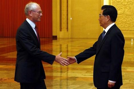 Van Rompuy, junto a Jintao.| afp
