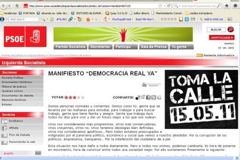 Imagen de la 'web' del PSOE con el manifiesto colgado.