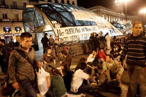 Acampada de 'Democracia real ya' antes de que la policía desalojara la protesta. | Óscar Monzón