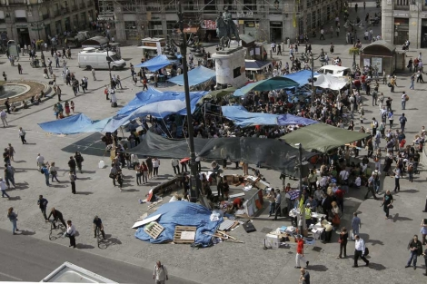 Imagen de la protesta en Sol. (Efe)
