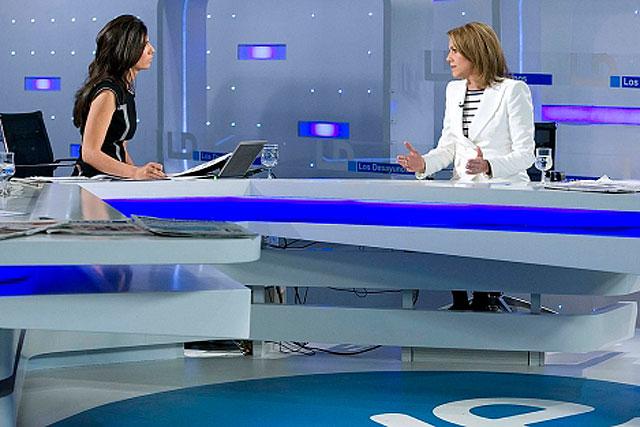 Imagen de la entrevista de Pastor a Cospedal, en la que se enfrentaron por el tartamiento informativo de TVE al PP. | TVE
