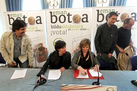 Urizar, Agirresarobe, Badiola, Matute y Garitano en el acto de cierre en San Sebastián. | Efe