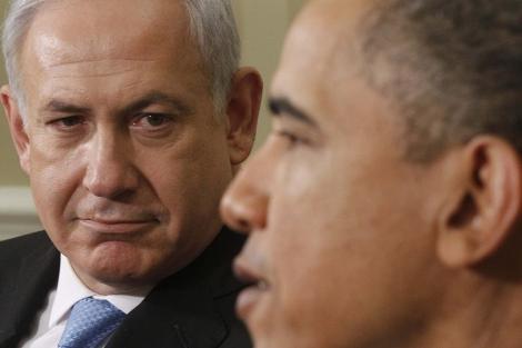 Netanyahu, con Obama en la Casa Blanca.  Ap