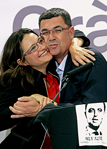Mónica Oltra y Enric Morera. | Efe