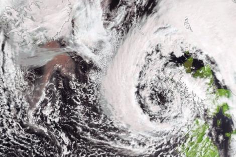 Imagen de Islandia tomada ayer por el satélite meteorológico EUMETSAT.