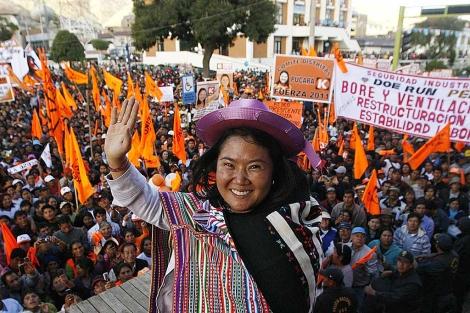 Keiko Fujimori, durante un mitin de su campaña, en Huancayo.   AFP
