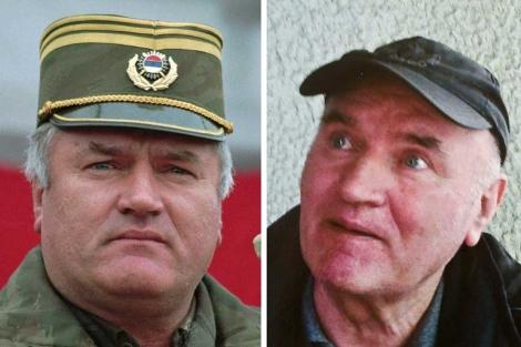 El ex líder militar serbobosnio Ratko Mladic, en 1995 y tras su captura. | AP
