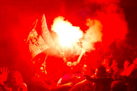 Medio centenar de vándalos ha intentado estropear la fiesta   Afp