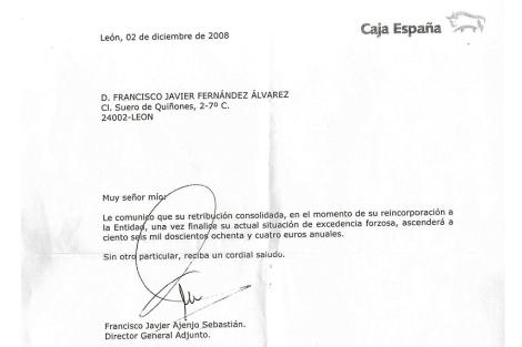 Detalle de la carta en la que Ajenjo comunica a Fernández su retribución.
