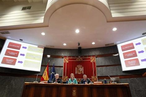 Gabriela Bravo, portavoz del CGPJ, en la presentación del informe. | Efe