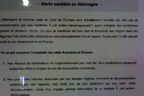 Imagen del cartel en el comedor del Consejo de Europa.
