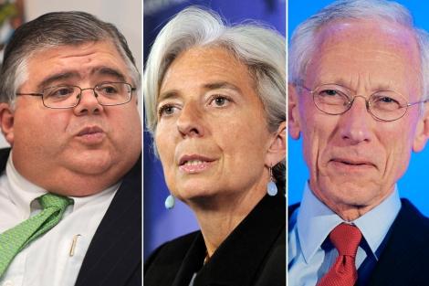 Agustin Carstens, Christine Lagarde y Stanley Fischer. | AFP