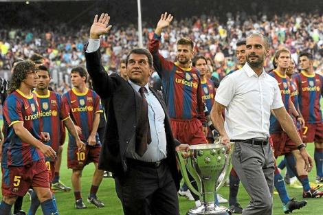 Laporta, celebrando su último título de Liga. | ELMUNDO.es