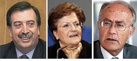 El vicepresidente Eugeni Gay y los magistrados Javier Delgado y Elisa Pérez Vera. | Efe