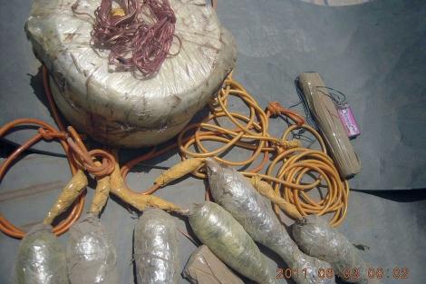 Artefacto explosivo encontrado por soldados afganos este mes en Badghis. | Foto: Jabar Said