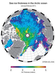 Mapa del hielo ártico. | ESA