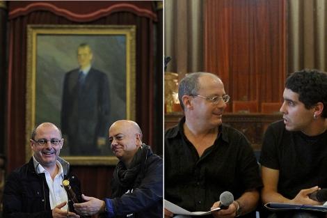 El cuadro del Rey en la investidura de Izagirre (i) y el salón de plenos sin el cuadro. | Ap/Justy