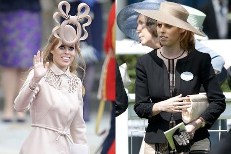 La princesa Beatriz, en la boda real (i) y hace unos días en Ascot (d).   Gtres