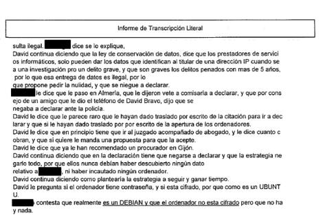 Parte de una de las transcripciones literales entre un acusado y su abogado.