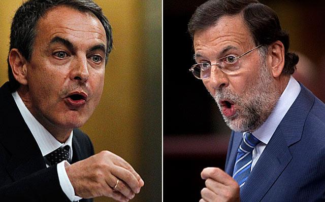 Zapatero y Rajoy, en un momento de sus intervenciones en el debate. | AP y Reuters