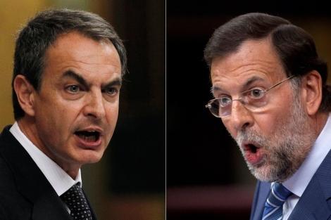 Zapatero y Rajoy, durante el debate. | Reuters