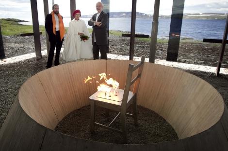 Peter Zumthor junto a la reina de Noruega presentando su último proyecto. | Reuteurs