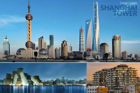 Arriba, la torre Shanghai, del estudio Gensler. Abajo el proyecto de la isla Saadiyat (EAU), liderado por AECOM, y un edificio de Perkins&Will