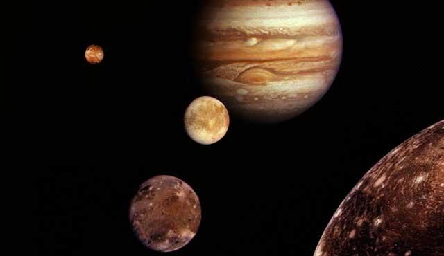 Montaje de Júpiter y los satélites galileanos.  NASA/JPL