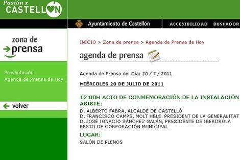 Captura de la agenda del Ayto. de Castellón, donde figura Francisco Camps.